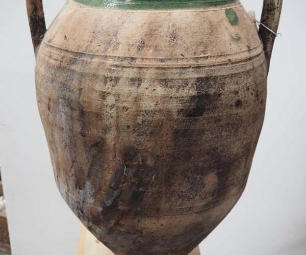 Ottoman Period Green glazed terracotta urn