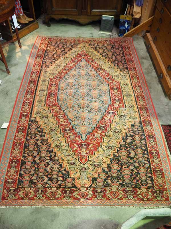 Hand made wool on wool kilim Persian Senneh
