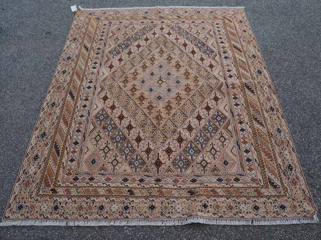 Finely Knotted Soumac, Warped wrapped kilim & pile carpet. Afghani Mushwani from Herat