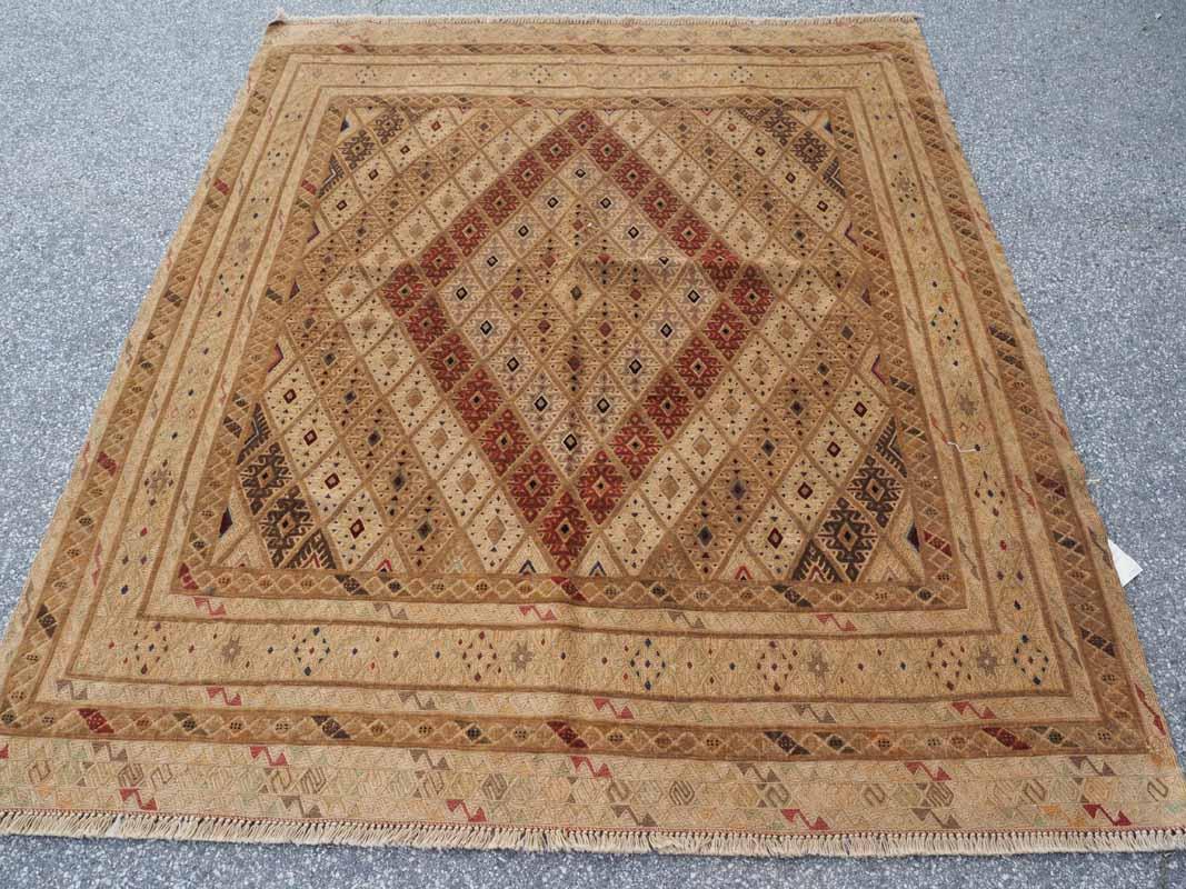 Finely woven Soumac (Warp Wrapped) Kilim & Carpet Afghani Moshwani