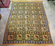 Hand embroidered Wool on wool Tulip Pattern Dowry Carpet from Konya Turkey. Approximately 40 - 50 years old