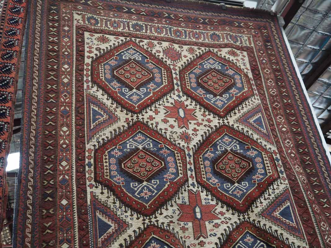 Fine hand made wool on wool Glubeceste rug from Afghanistan. Approximately 70 years old