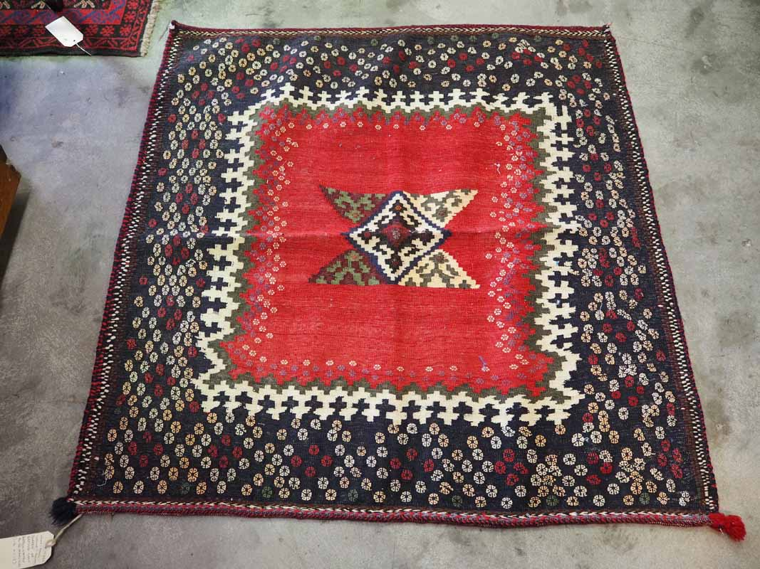 Wool hand-loomed Kilim 'Sofreh' or eating mat. Approximately 40 - 50 years old