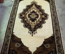 Wool on wool (undyed & natural wool) hand knotte Turkish carpet from Bursa. A dowry piece. Approximately 70 years old