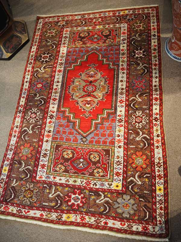 Wool on wool double knotted hand made Turkish carpet from Kirsehir, Approximately 100 years old
