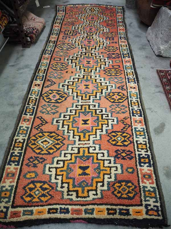 Hand knotted Turkish wool runner Kurdish. Approximately 80 - 100 years old