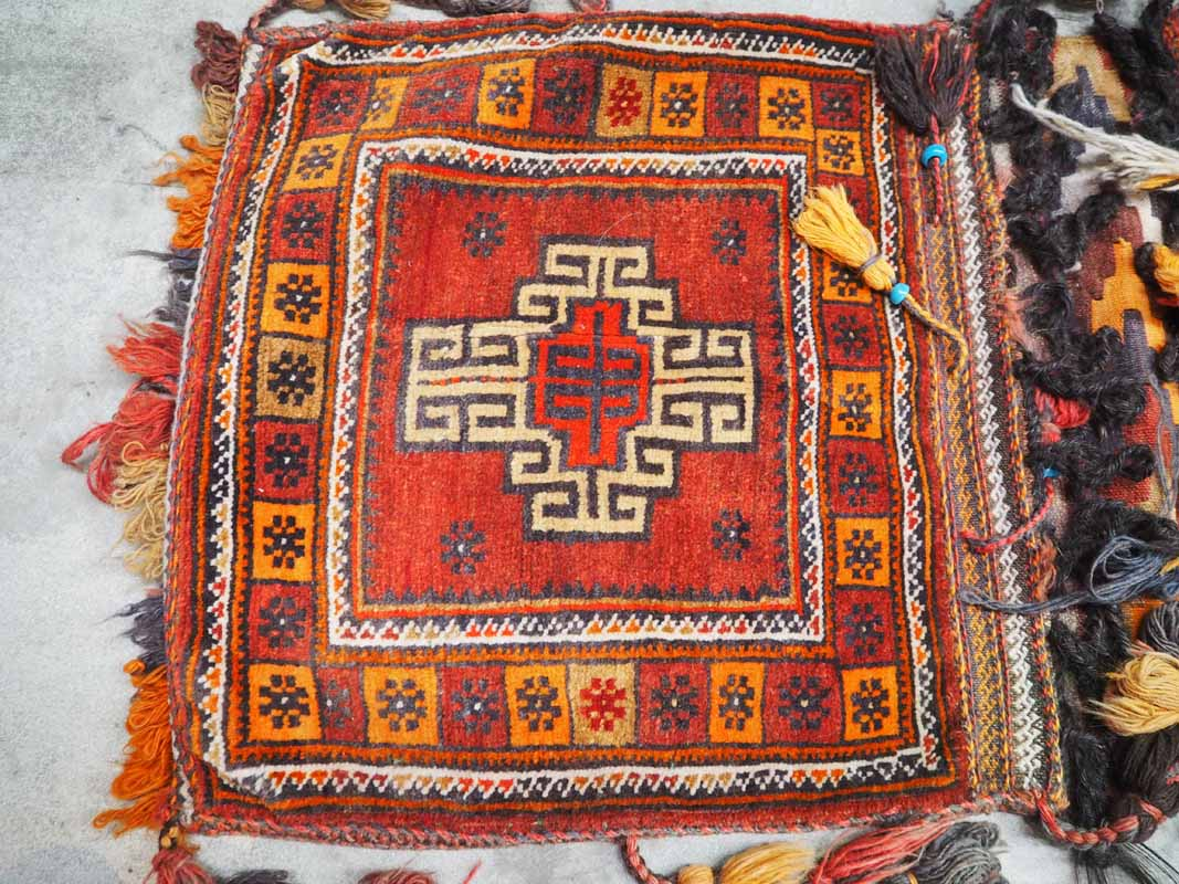 Wool on wool hand knotted Weaving saddle bag Belouch. Approximatley 50 years old