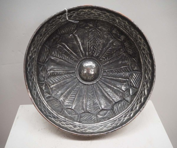Ottoman Period Tinned Copper Repousse Bowl