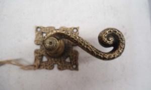 antique metal homeware Cast brass door handle c.1910
