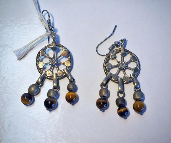 Turkoman silver & tiger's eye earrings