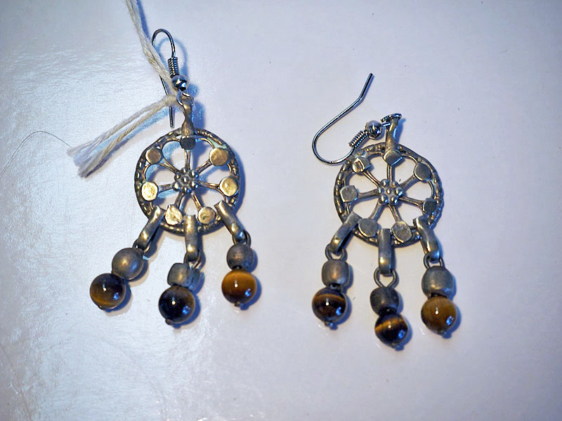 Turkoman silver & tiger's eye earrings