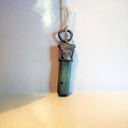 Turkoman Silver & Jadeite pendant