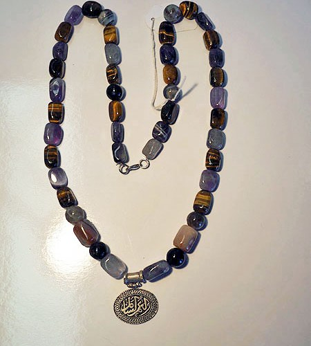 Mixed stoned with Amethyst, tiger's eye etc. & silver necklace
