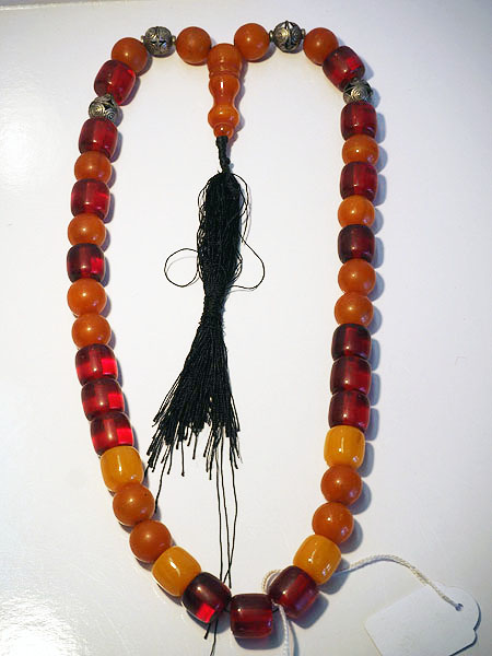 Vintage Compressed Amber and Silver Necklace