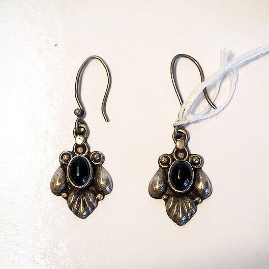 Turkoman silver & garnet earrings