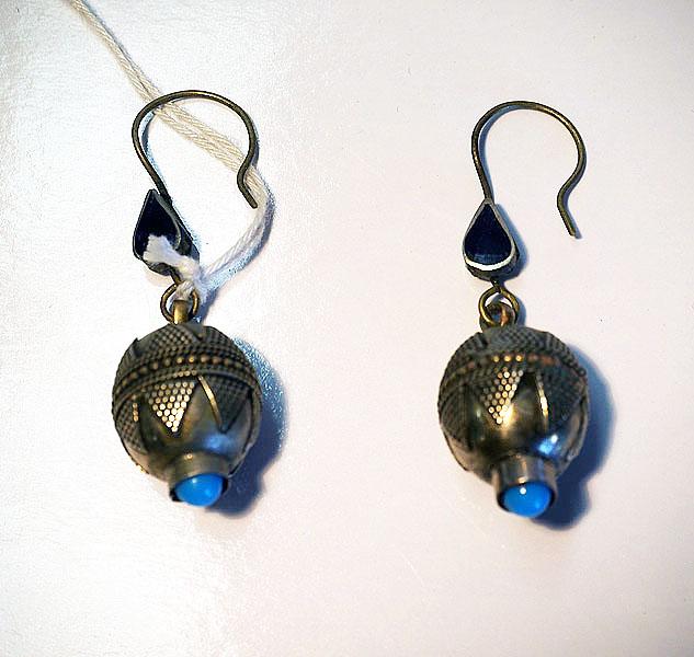 Turkoman silver, lapis & Turquoise Earrings