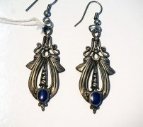 Turkoman Silver & Lapis Earrings