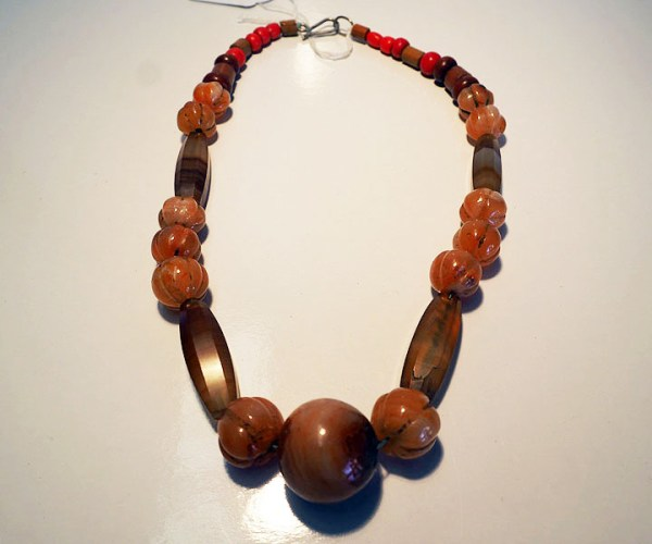 Carnelian and wooden beads from Sikkim