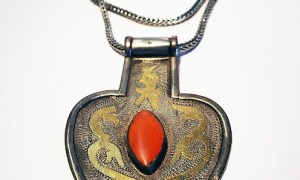 Turkoman silver & gold necklace