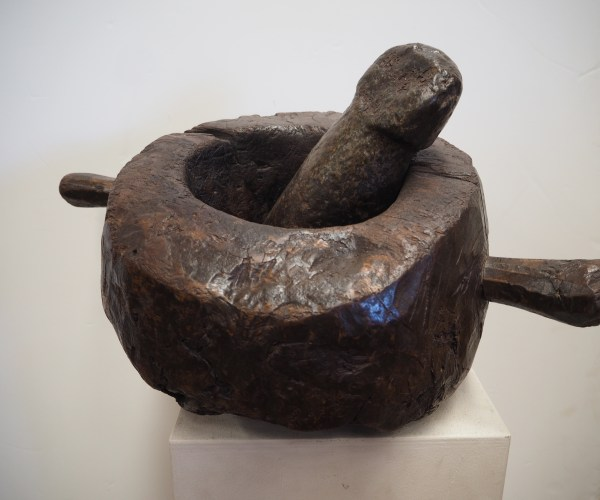 19th Century Ottoman period Turkish wooden mortar and carved stone pestle
