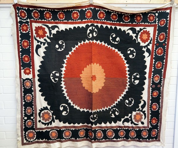Antique Silk and cotton embroidered Uzbeki Bolim Posh or Wedding canopy c.1890