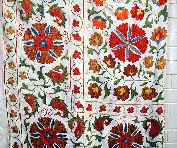 Very finely Embroidered silk on cotton Uzbeki Suzani, ideal as a bedspread