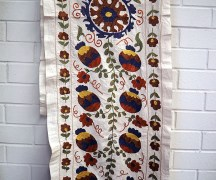 Hand embroidered silk on cotton Suzani Runner