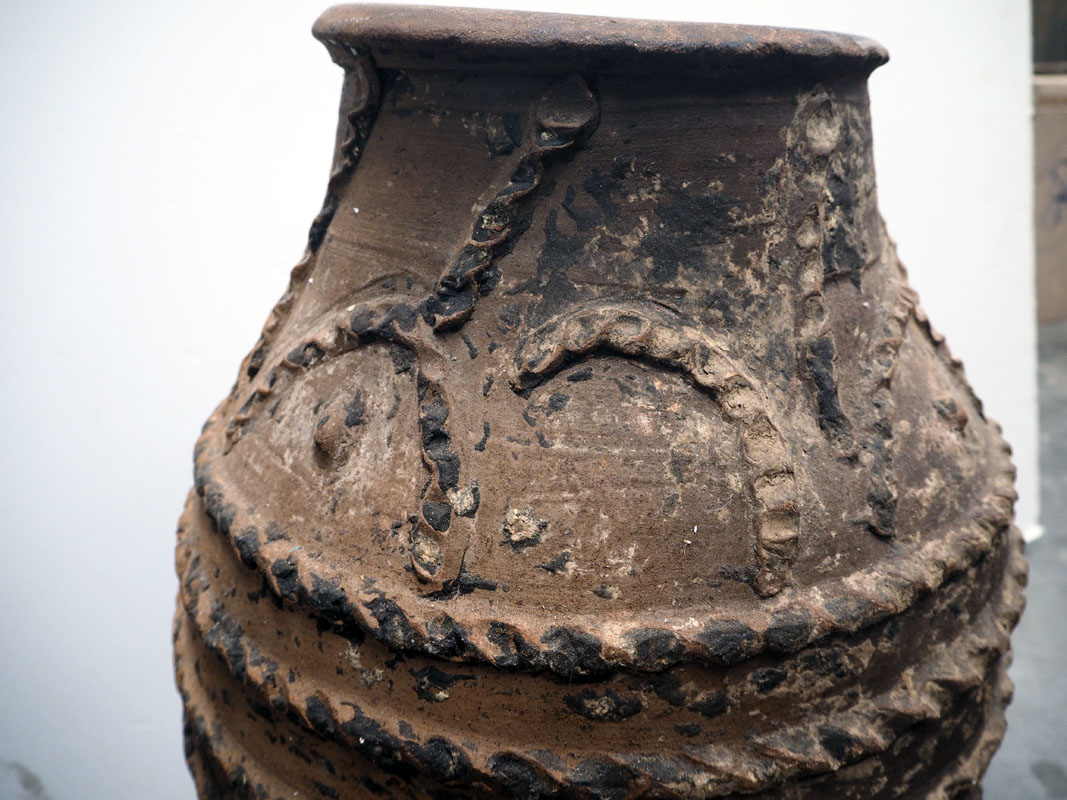 19th century Ottoman period ribber & decorated terracotta urn from Eastern Anatolia