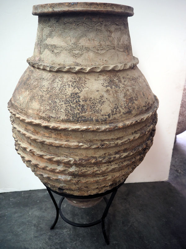 Ottoman period Terracotta urn from Eastern Anatolia with a metal stand