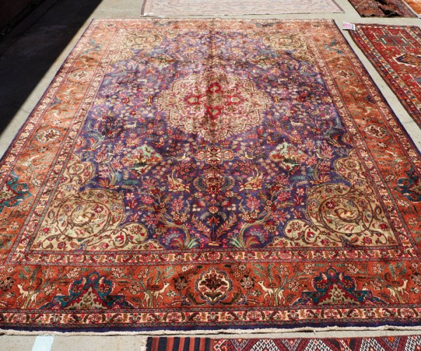 Hand knotted wool on cotton carpet from Persia Tabriz forest Design approximately 70 - 80 years