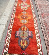 Hand knotted wool on wool Iraqi Kurdish Herki runner, 40 - 50 years old