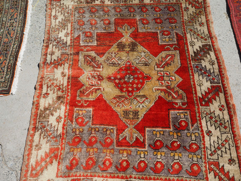 Double knotted hand made wool on wool Turkish carpet from Konya, approximately 60 - 70 years old
