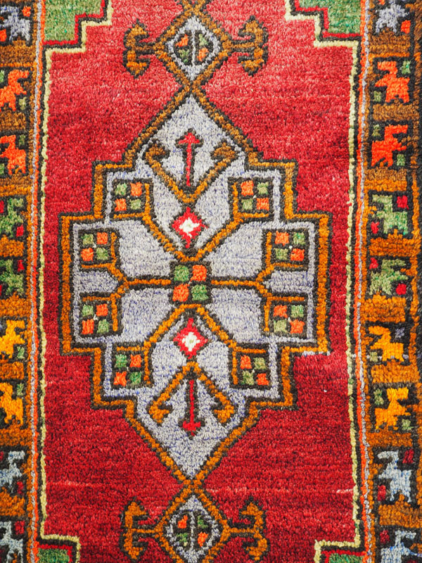 Double knotted hand made wool on wool Turkish carpet from Nigde, approximately 40 years old
