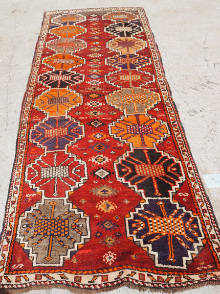 Hand knotted wool on wool Kurdish Herki runner, approximately 100 years old