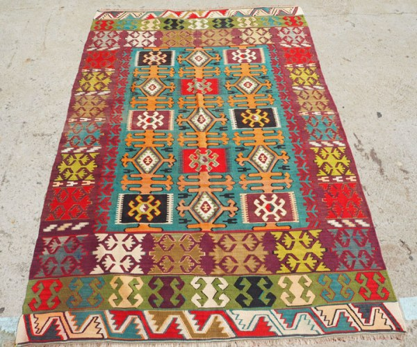 Hand woven wool on wool Turkish Kilim from Konya, approximately 80 - 90 years old