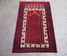 Hand made woiol on wool Balouch carpet, approximatley 40 - 50 years old