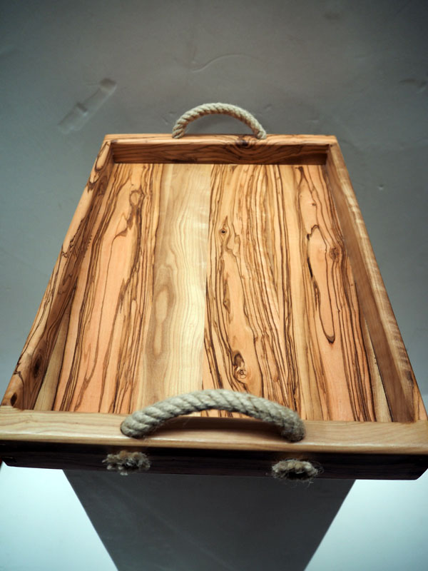 Handmade olive wood tray with rope handles