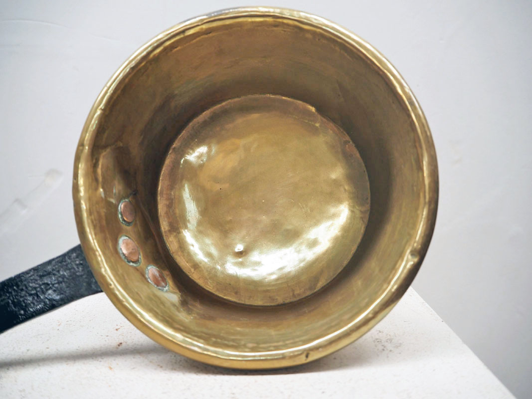 Brass, iron handled french long handled pan