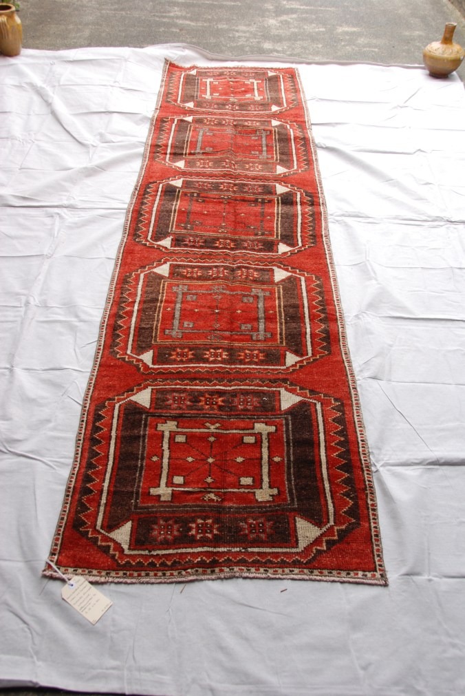 Hand double knotted wool on cotton Turkish Malatyer runner approximately 70 years old 3.15 x 0.80 $1,695.00