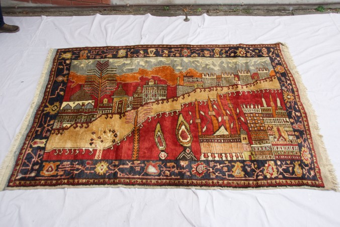 """T830 Konya Karapinar hand double knotted wool on wool """"Village Scene"""" carpet approximately 60 years old 1.68 x 2.30 $2,985.00"""
