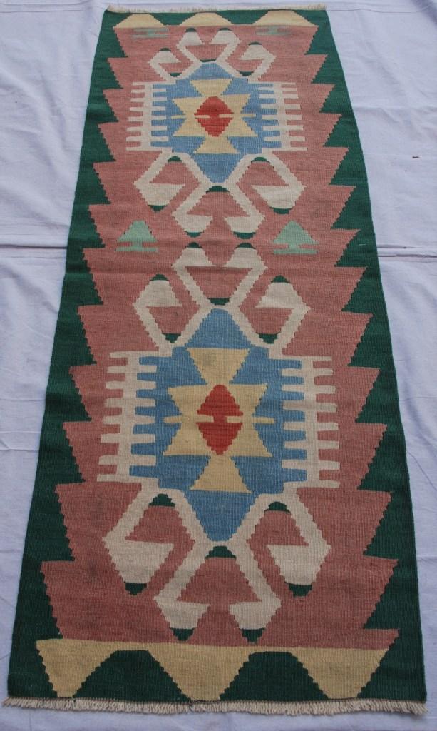 Turkish Kayseri hand woven wool on wool kilim 20-30 years old 1.69 x 0.61 $245