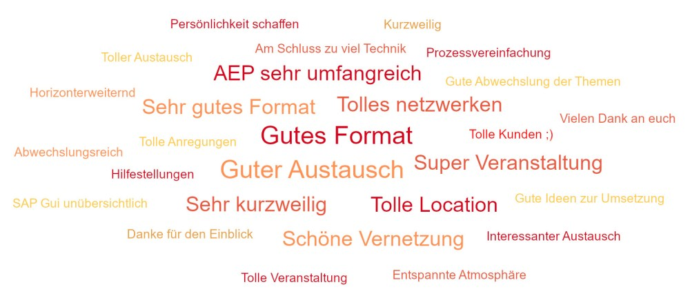 Wordcloud der Bewertung der AEP-Anwendertagung, welche positives Feedback zeigt