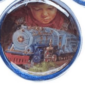 Lionel Train and Little Boy 80 mm Glass Disc Ornament Case
