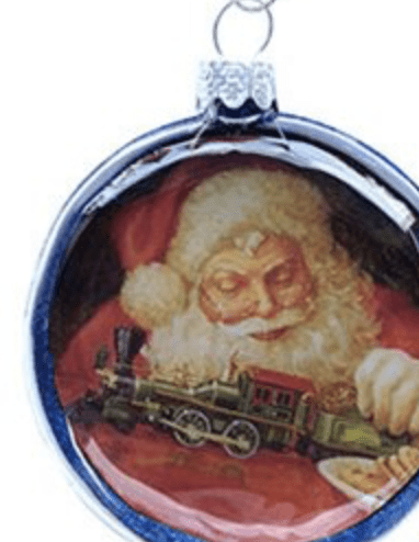Otto's Granary Lionel Train with Santa Glass Disc Ornament Case