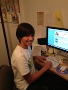 Joey Emerson, piano student, playing Music Learning Community computer games