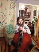 Harp student Sarah playing the bass