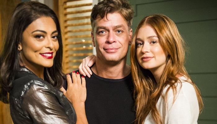 Carolina (Juliana Paes), Arthur (Fábio Assunção) e Eliza (Marina Ruy Barbosa) (Foto: Globo/João Miguel Júnior)