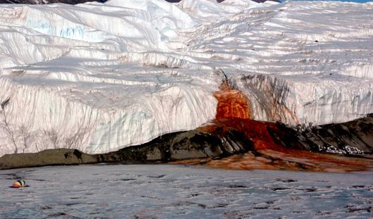Водопады, по которым течёт кровь... ну или то, что очень похоже на кровь! На самом деле это богатая железом солёная вода.