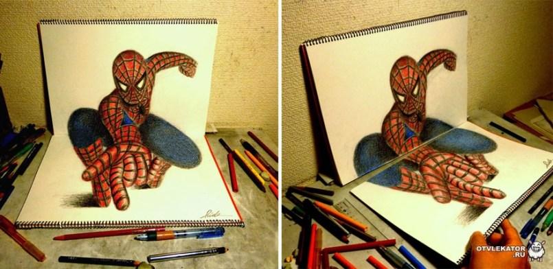 трехмерный рисунок карандашом: человек-паук