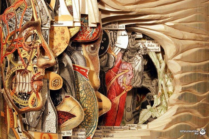 резная скульптура из книг